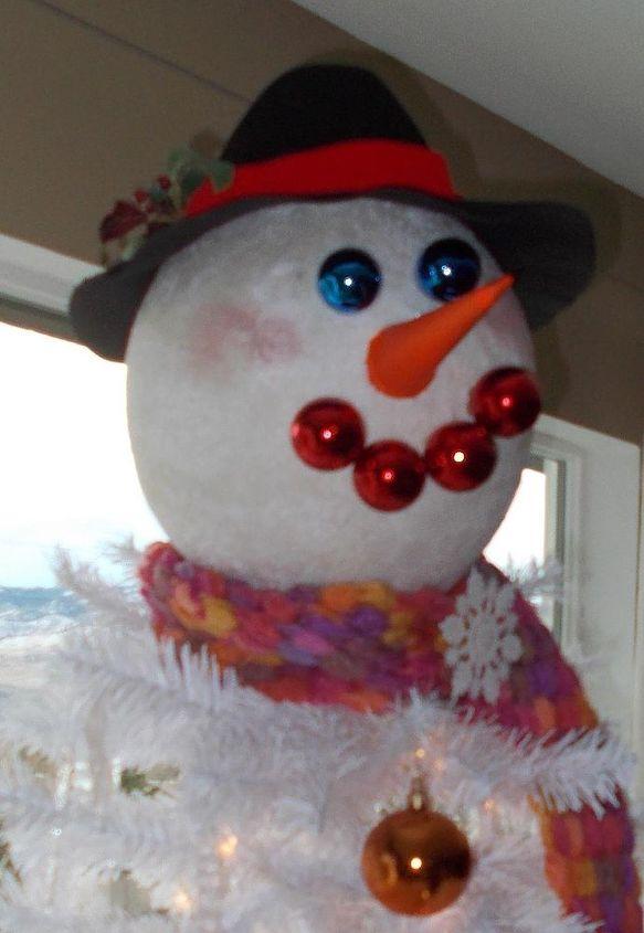 diy snowman christmas tree topper christmas decorations crafts seasonal holiday decor