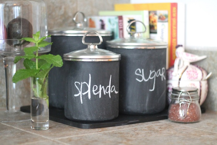 DIY Chalkboard Canisters via Carrie Bradshaw Lied