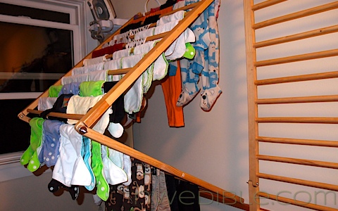 I can get lots of cloth diapers and delicate items on each of the two racks I built.