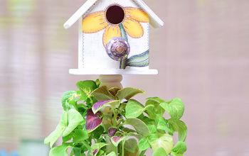 tree trunk birdhouse planter, crafts, gardening