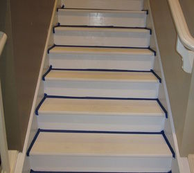 Removing Carpet From Stairs And Painting Them, Painting, Stairs, Apply  Painters Tape And
