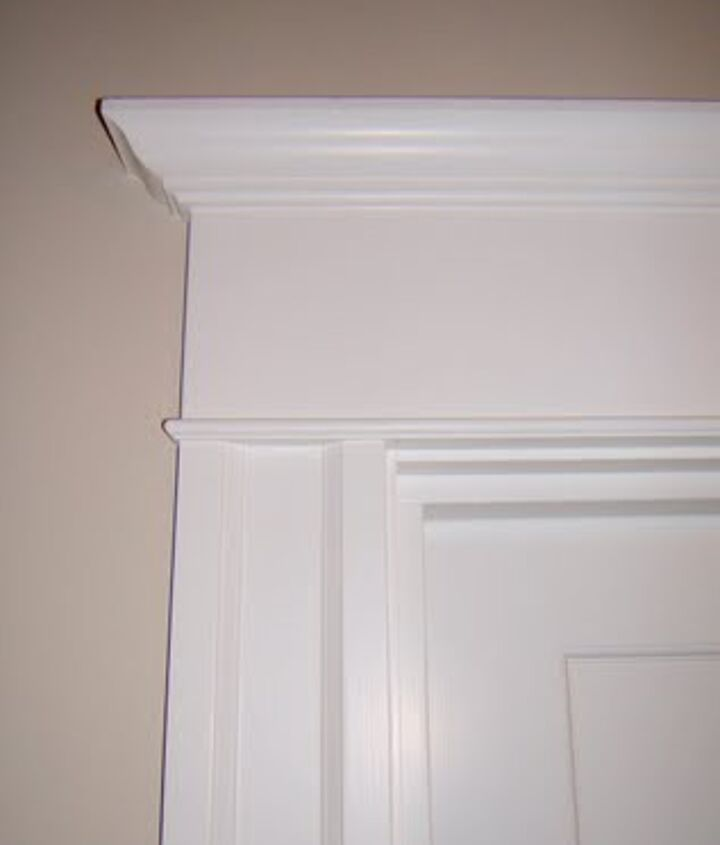Added trim and crown moulding to the outside of her door (located in the upstairs hallway)