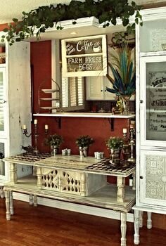 farmhouse coffee pantry french armoire from curbside junk, chalk paint, painted furniture, repurposing upcycling, This is the final result An ugly coffee table turned into a french buffet and two outdated cabinets become functional pantries