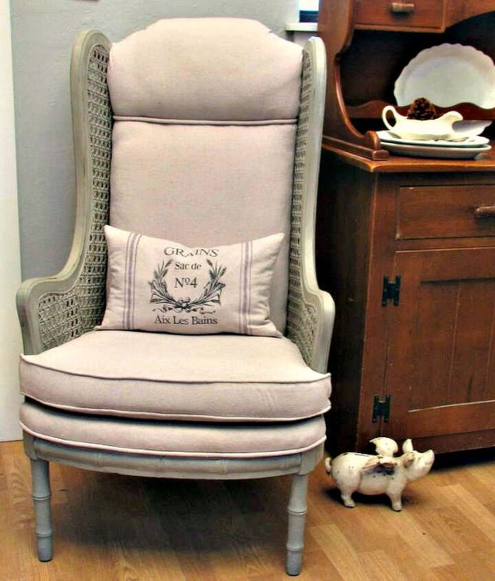 re upholstered chair using drop cloth fabric, painted furniture