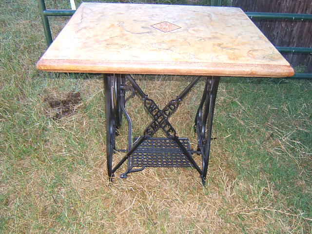 old white sewing machine base, outdoor furniture, outdoor living, painted furniture
