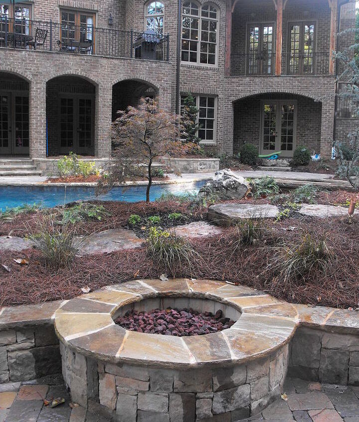 landscaped pool area, outdoor living, pool designs