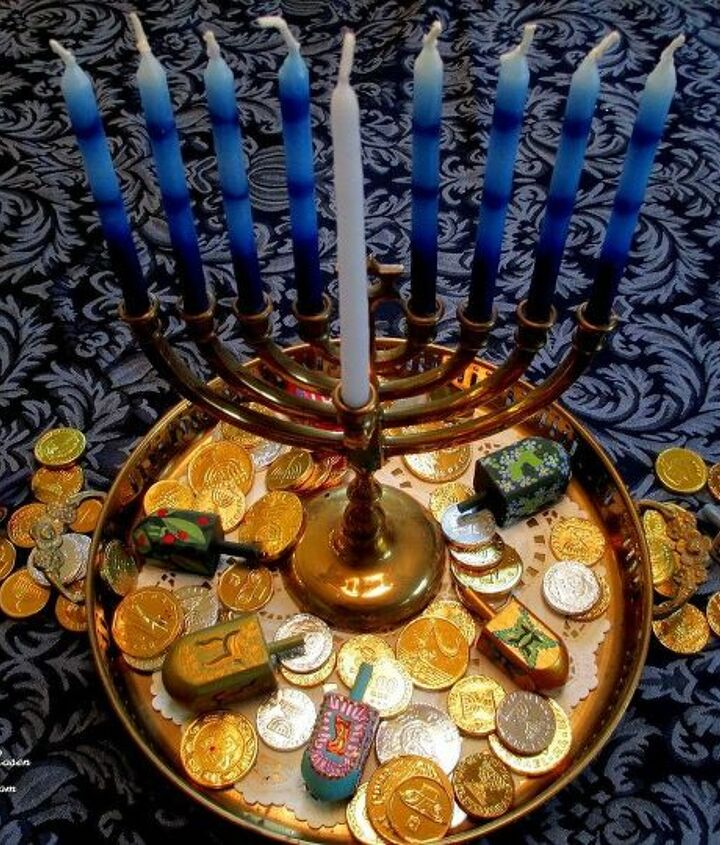 Chanukah gelt and menorah on our holiday table