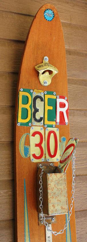 Repurposed Vintage Water Ski Beer & Soda Opener Station by GadgetSponge.com