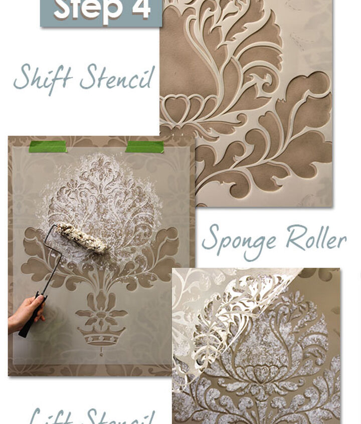 Following the instructions on our blog, shift the stencil to continue with the textured effect. http://www.royaldesignstudio.com/blogs/how-to-stencil/7973661-stencil-how-to-easy-sponge-roller-texture-and-stencil-shadow-shift