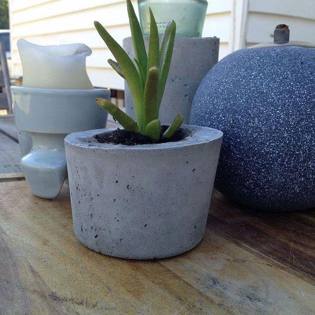 Cement Container Planters : Diy concrete planters hometalk