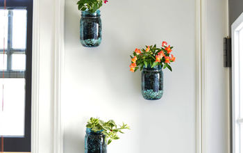 when good projects go bad, crafts, flowers, gardening, mason jars, succulents, Hanging Mason Jar Planters Good in concept