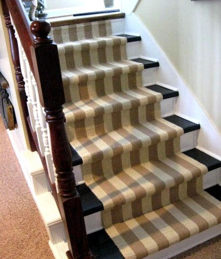 Painted stairs with runner