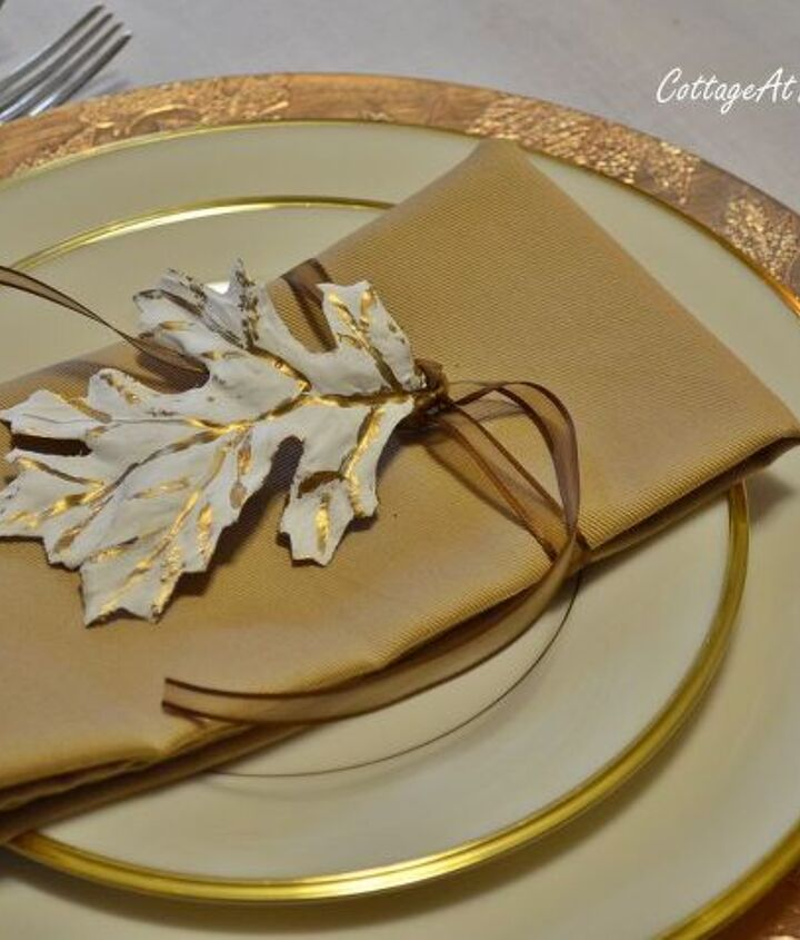 Lenox Eternal China with plaster leaves on napkin