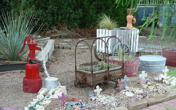 faux water feature garden decorating, gardening, close up