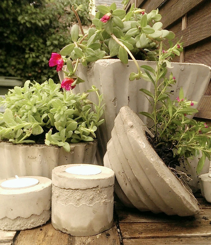 making a selection of planters and tea-light holders out of cement and concrete...