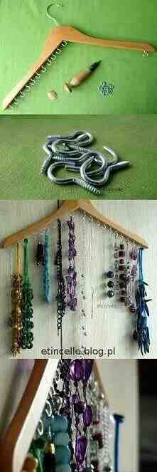 i can never fit all of my necklaces into my jewelry case i saw this a, cleaning tips, Easy necklace storage
