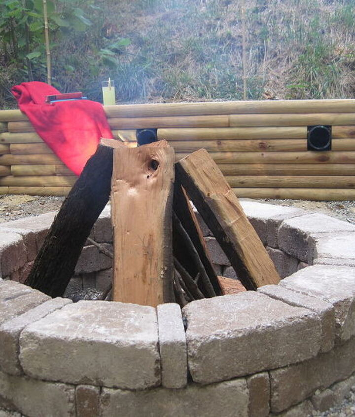 Fire Pit with timber retaining wall