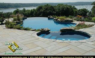 patios patios patios, concrete masonry, decks, outdoor living, patio, pool designs, Bluestone patio with vanishing edge pool
