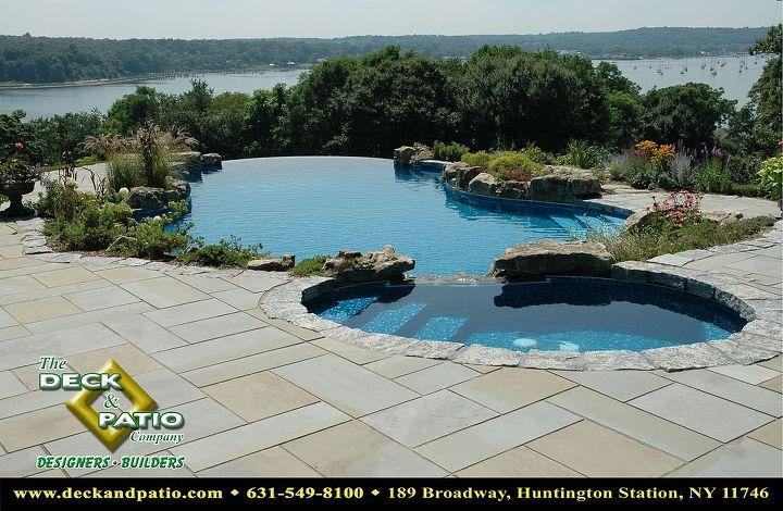 Bluestone patio with vanishing edge pool