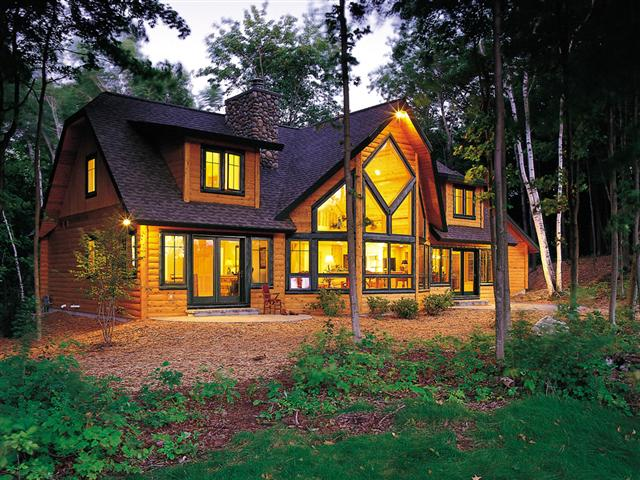 exteriors of log cabins homes, architecture, The floor plan of this beautifully lit log home offers amenities and space making it perfect for year round living