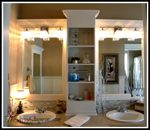Frame And Add A Shelf To Builder Grade Mirror Bathroom Ideas Painted Furniture
