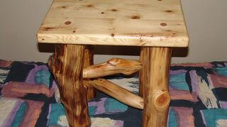 , Aspen log legs with Douglas Fir top