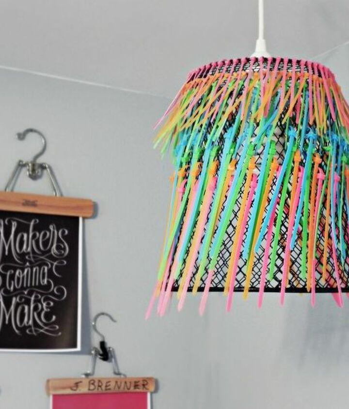 My ombre neon zip-tie pendant lamp in my craft room.  http://www.madincrafts.com/2012/10/ombre-neon-zip-tie-pendant-lamp.html