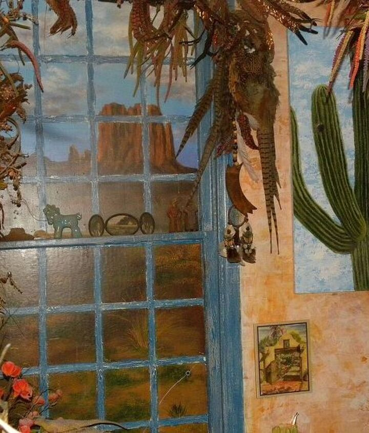 my husband loved the Old West so I painted this picture on the window and the bathroom for him
