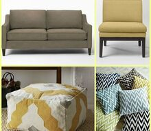 q looking for good quality small scale sofa or loveseat for living room, living room ideas, painted furniture, This is a collage I made of a living room design featuring one of the sofas I like the Paidge from West Elm