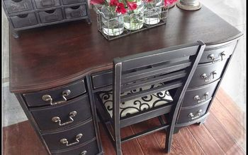 refinished antique desk, painted furniture, After