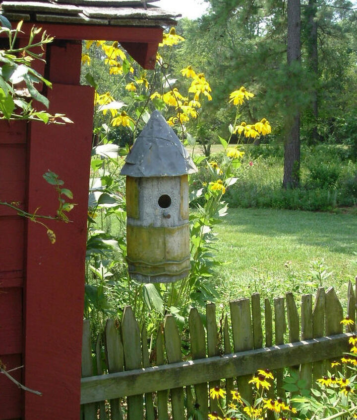 You can use older styles and home made birdhouses as well to add character to your buildings, fences, and walkways.