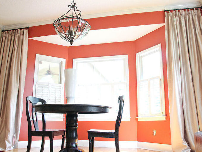 a new twist on bay window curtains, home decor, reupholster, window treatments, windows
