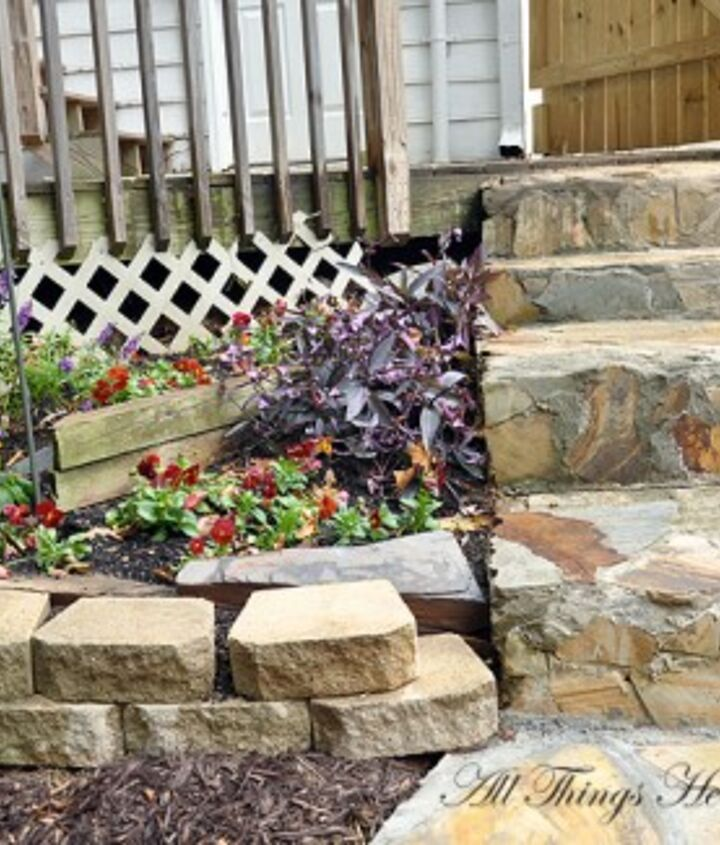 To add a bit of a cottage feel, we added stone steps going into the yard...