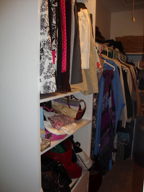walk in master bedroom closet, cleaning tips, closet, organizing, Stacked vanity tower with purse and skirt organization as well as pull out drawers