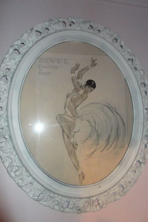 A Josephine Baker print I had framed in a vintage frame I painted white