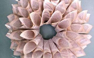 book page wreath tutorial, crafts, wreaths, Just keep adding to get the size you want Three rows makes a nice medium size and 6 rows makes an awesomely large one Check the blog link for full instructions
