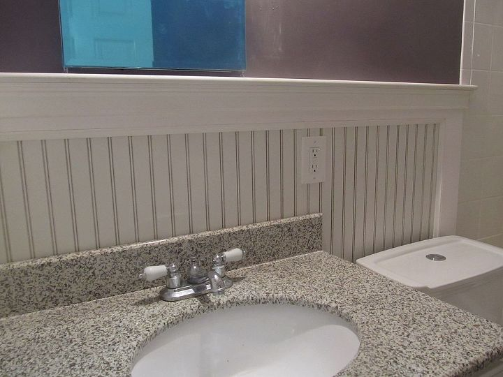beadboard bathroom re do, bathroom ideas, wall decor