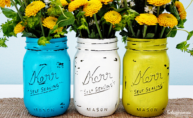 Vintage Inspired Painted Mason Jars Crafts These Colors Just Pop Don