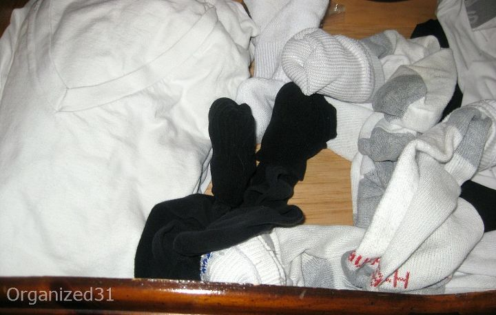 This is the undershirt and sock drawer before.
