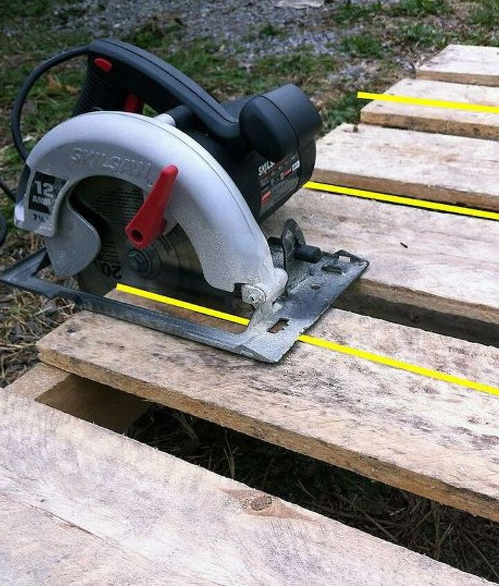 Set the depth of the circular saw to cut as deep as you can since you'll be cutting through the top board and the 2x4 supports on either side and in the middle