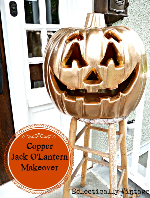 Give your orange jack-o-lantern some bling http://eclecticallyvintage.com/2012/10/enter-if-you-dare-halloween-house-tour/