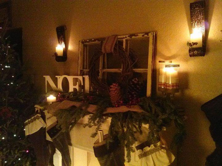 fire mantle christmas present, christmas decorations, fireplaces mantels, seasonal holiday decor, wreaths
