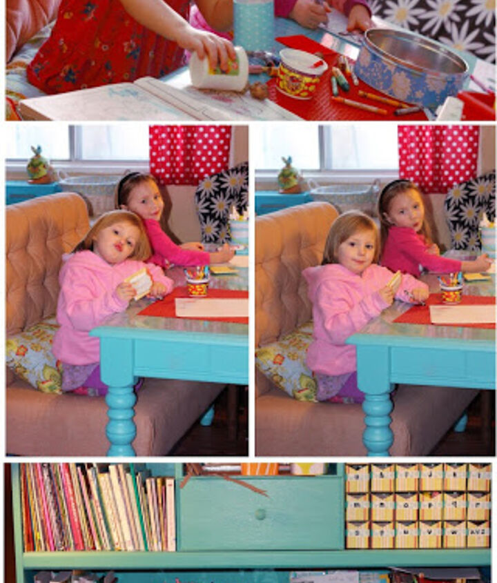 My girls love sitting at their bench for homeschool! Check out my blog for all the details of this build.