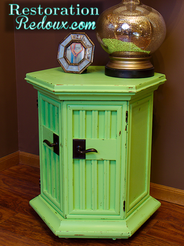 vintage green table makeover, painted furniture