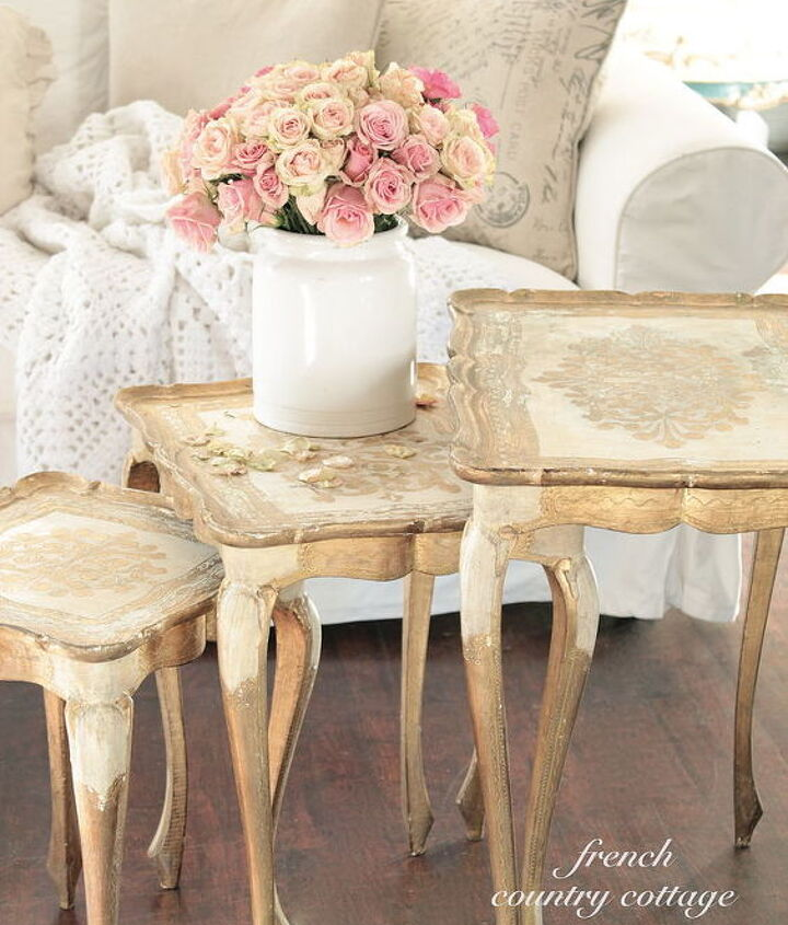 thrift store romantic vintage florentine tables, home decor, painted furniture