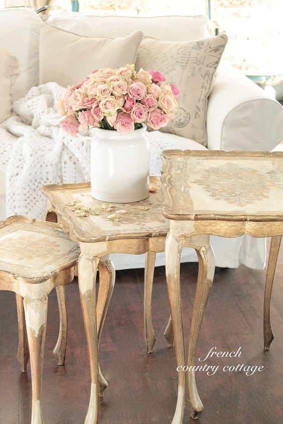 thrift store romantic vintage florentine tables, home decor, painted furniture