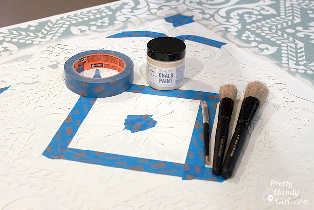 Materials: Stencil, chalk paint, stencil brushes, roller, painter's tape