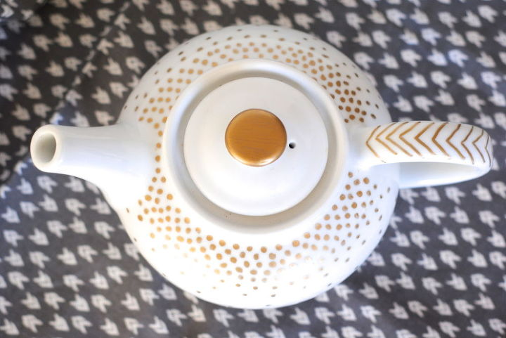 diy gold dotted servingware in under 5 minutes, crafts, This gold dotted and chevron handled teapot was decorated in under 5 minutes
