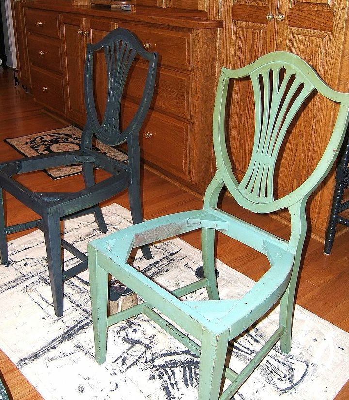I cleaned each chair with Krud Kutter. I was surprised at how much of the antiquing glaze came in this step.