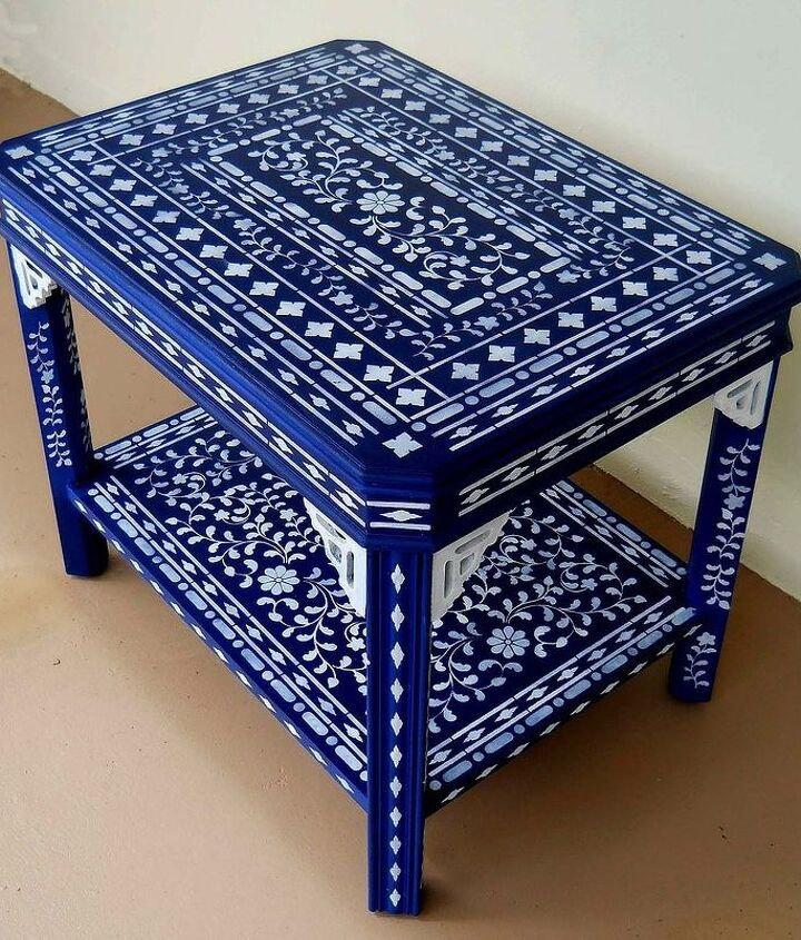 my blue stenciled table when a little stenciling is not enough, painted furniture
